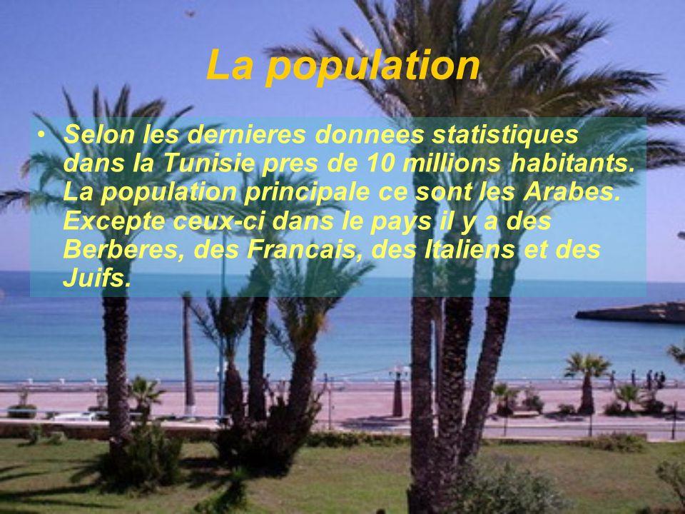 La population Selon les dernieres donnees statistiques dans la Tunisie pres de 10 millions habitants. La population principale ce sont les Arabes. Exc