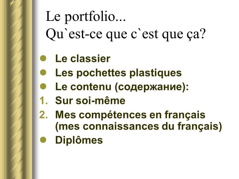 Le portfolio... Qu`est-ce que c`est que ça? Le classier Les pochettes plastiques Le contenu (содержание): 1.Sur soi-même 2.Mes compétences en français