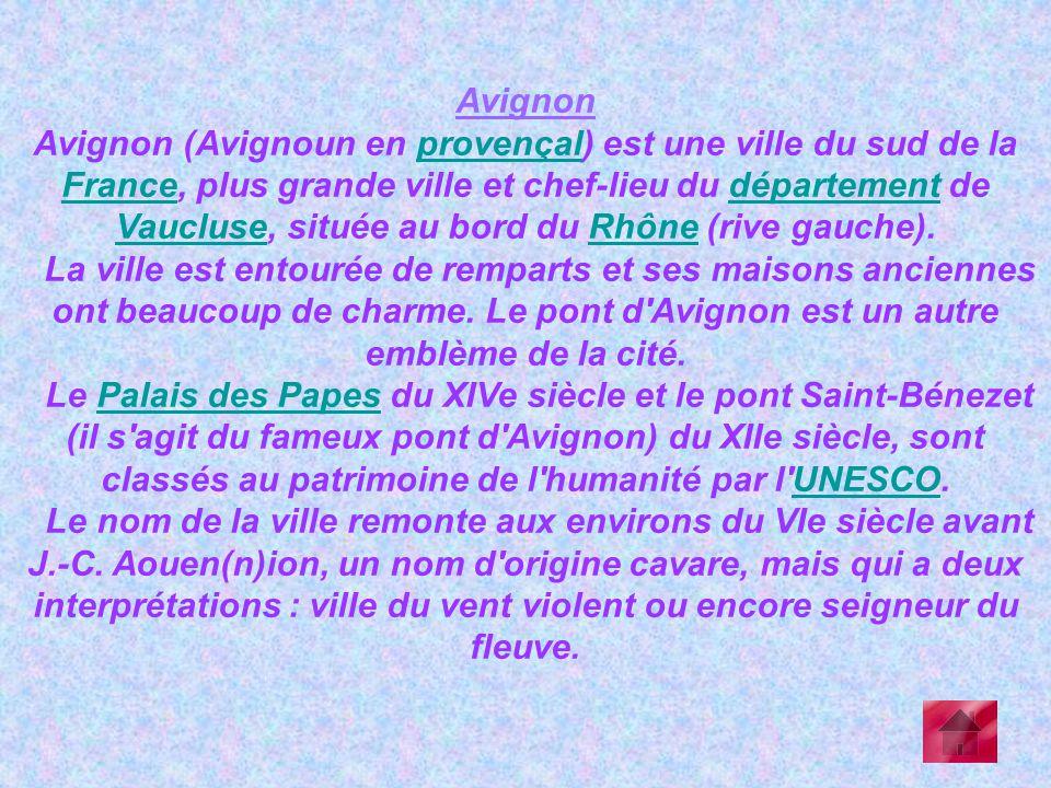 Avignon Avignon (Avignoun en provençal) est une ville du sud de la France, plus grande ville et chef-lieu du département de Vaucluse, située au bord d