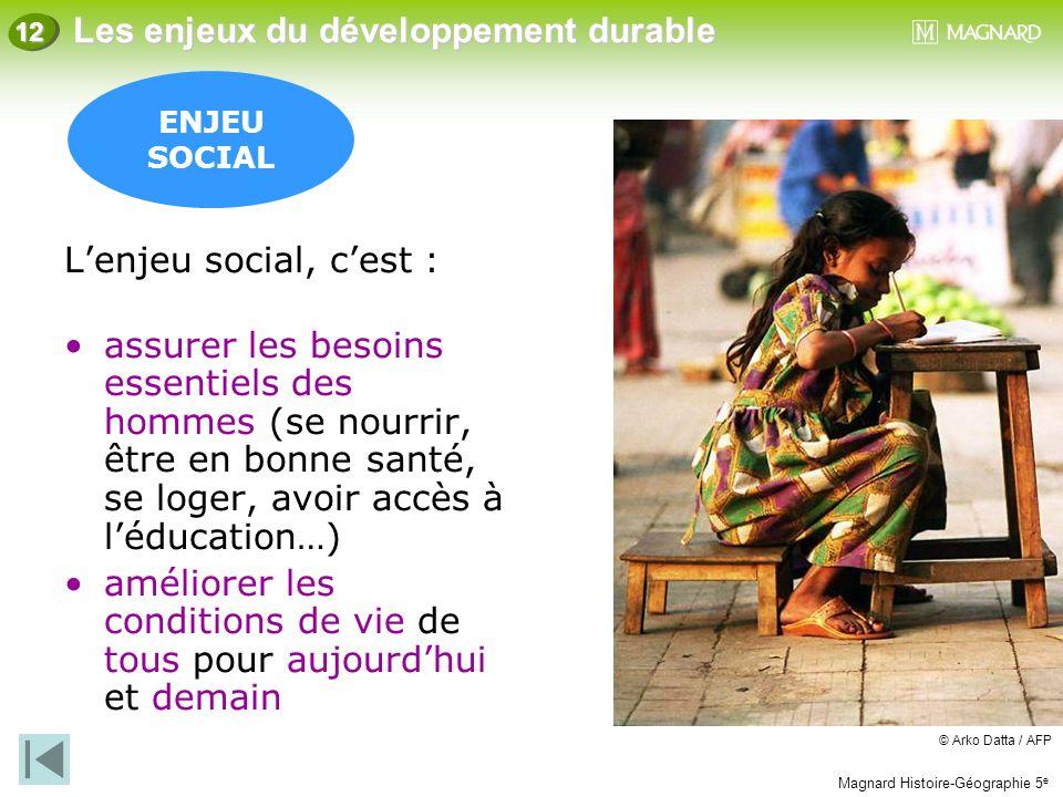 Magnard Histoire-Géographie 5 e Les enjeux du développement durable 12 ENJEU SOCIAL L'enjeu social, c'est : assurer les besoins essentiels des hommes