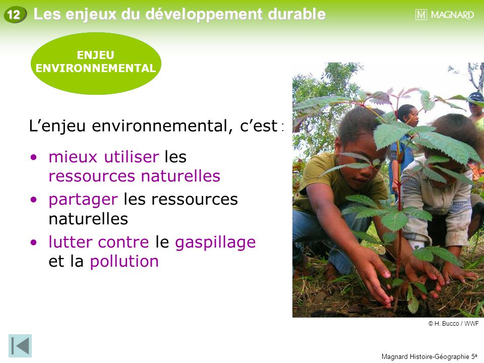 Magnard Histoire-Géographie 5 e Les enjeux du développement durable 12 ENJEU SOCIAL ENJEU ENVIRONNEMENTAL mieux utiliser les ressources naturelles par
