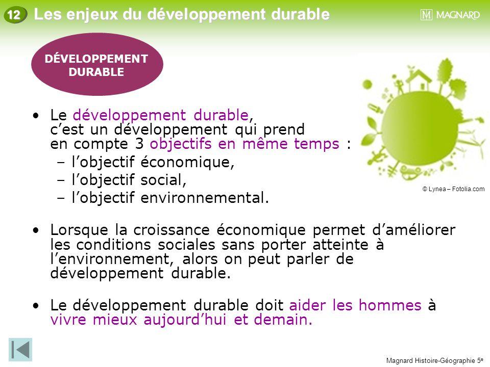 Magnard Histoire-Géographie 5 e Les enjeux du développement durable 12 Le développement durable, c'est un développement qui prend en compte 3 objectif