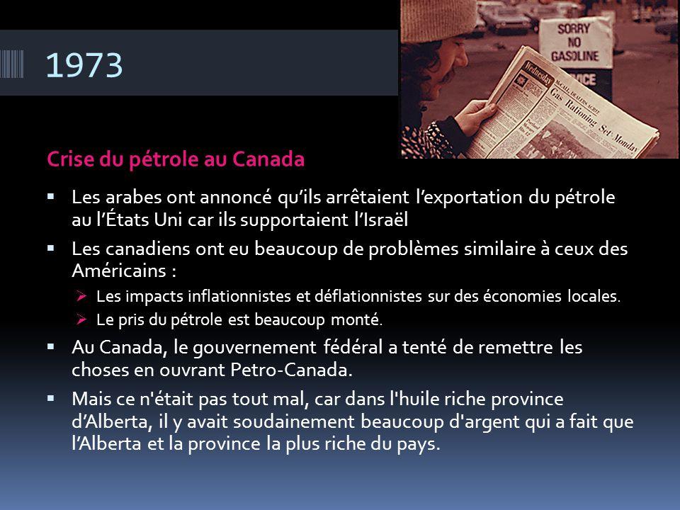 1973 Crise du pétrole au Canada  Les arabes ont annoncé qu'ils arrêtaient l'exportation du pétrole au l'États Uni car ils supportaient l'Israël  Les