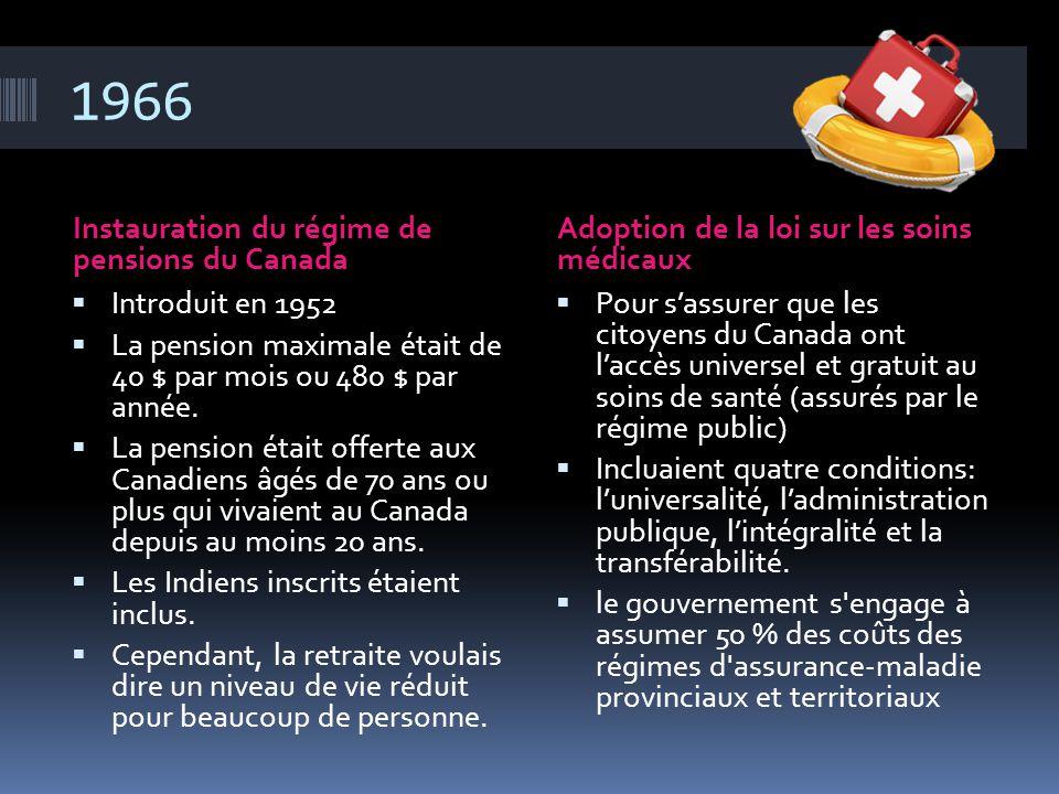 1966 Instauration du régime de pensions du Canada Adoption de la loi sur les soins médicaux  Introduit en 1952  La pension maximale était de 40 $ pa