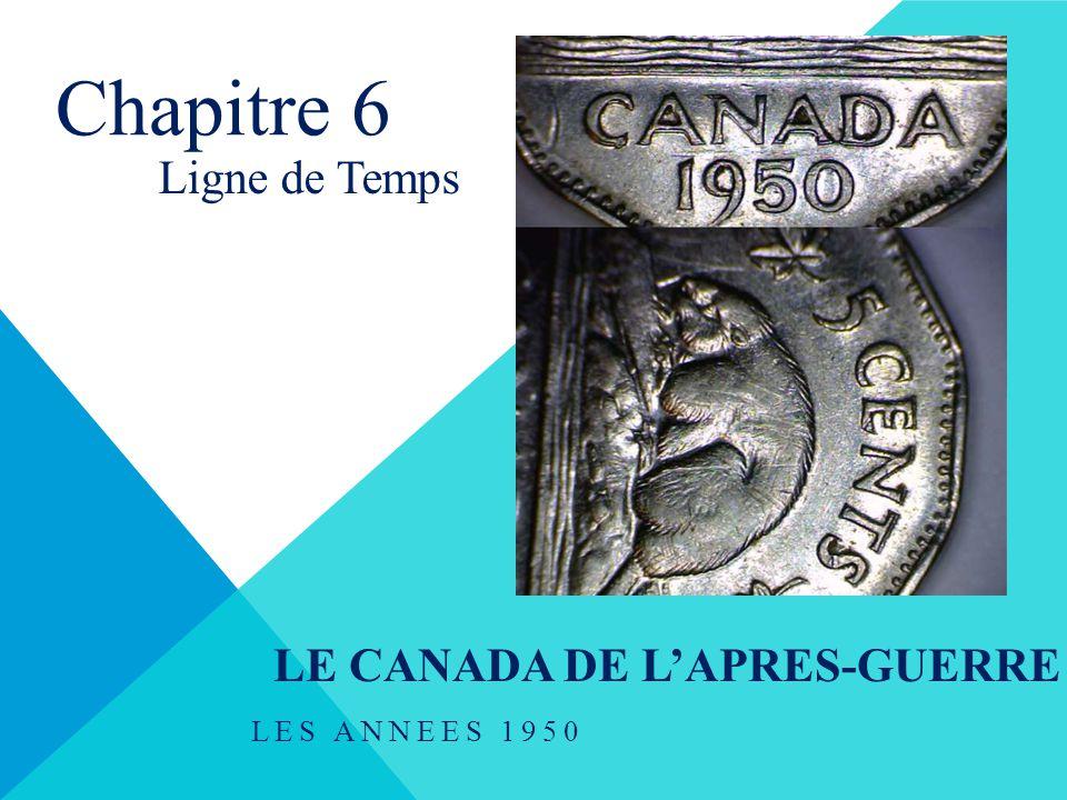 LE CANADA DE L'APRES-GUERRE LES ANNEES 1950 Chapitre 6 Ligne de Temps