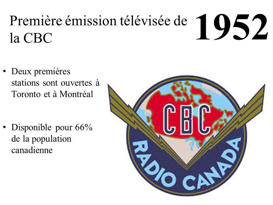 1952 Première émission télévisée de la CBC Deux premières stations sont ouvertes à Toronto et à Montréal Disponible pour 66% de la population canadienne