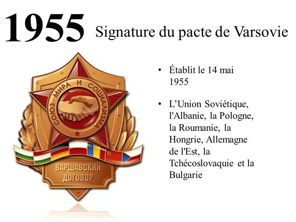 1955 Signature du pacte de Varsovie Établit le 14 mai 1955 L'Union Soviétique, l Albanie, la Pologne, la Roumanie, la Hongrie, Allemagne de l Est, la Tchécoslovaquie et la Bulgarie