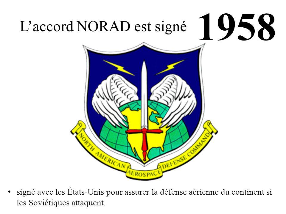 1958 L'accord NORAD est signé signé avec les États-Unis pour assurer la défense aérienne du continent si les Soviétiques attaquent.