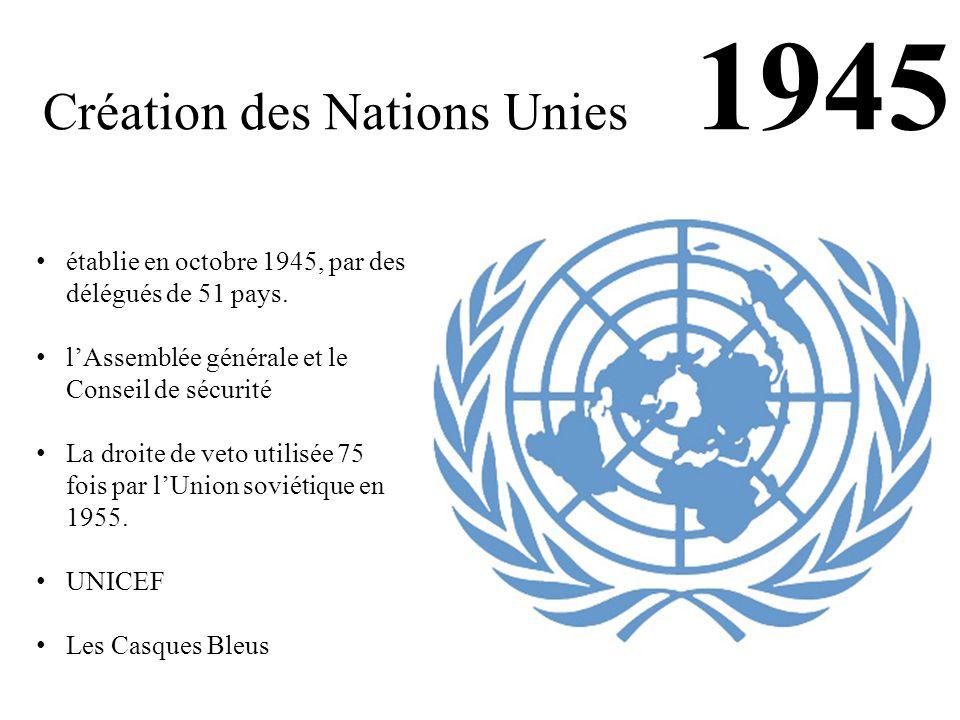 Création des Nations Unies 1945 établie en octobre 1945, par des délégués de 51 pays. l'Assemblée générale et le Conseil de sécurité La droite de veto