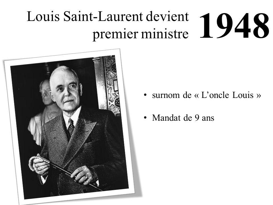 1948 Louis Saint-Laurent devient premier ministre surnom de « L'oncle Louis » Mandat de 9 ans