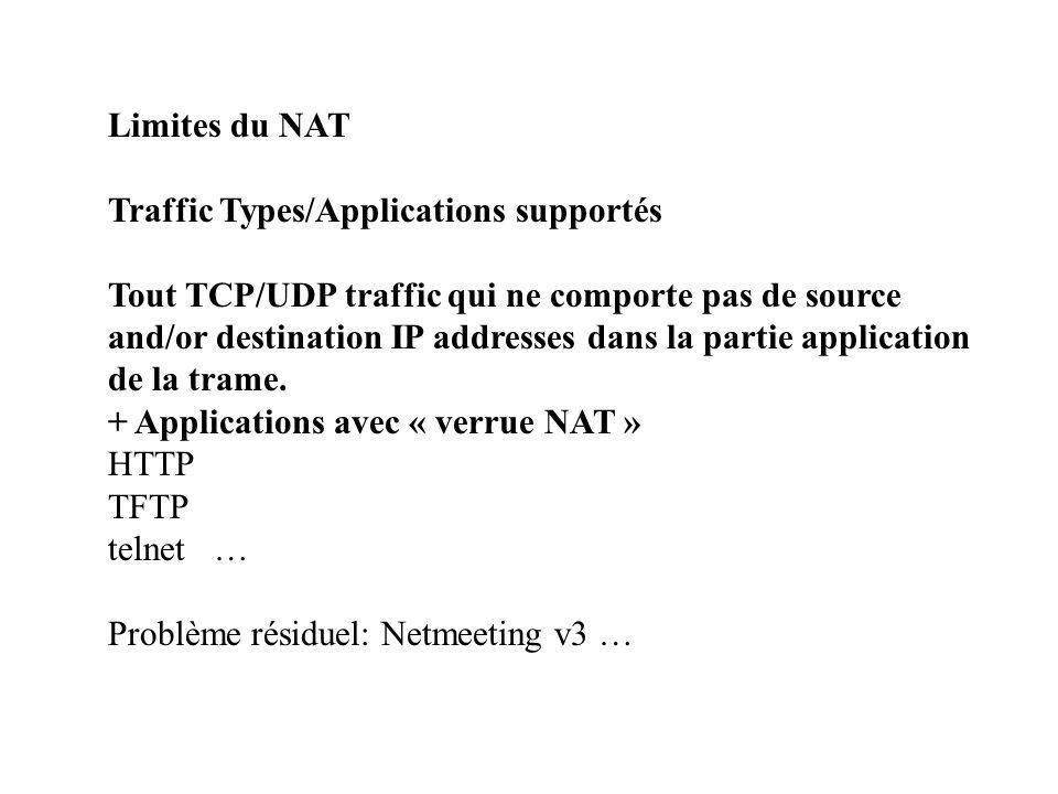 Limites du NAT Traffic Types/Applications supportés Tout TCP/UDP traffic qui ne comporte pas de source and/or destination IP addresses dans la partie application de la trame.