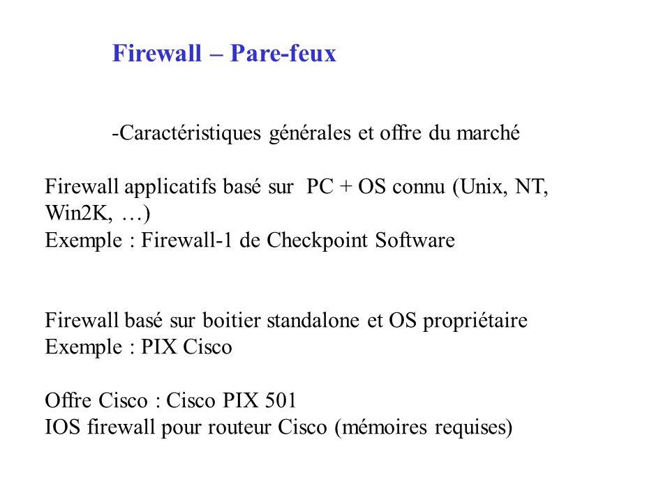 Firewall – Pare-feux -Caractéristiques générales et offre du marché Firewall applicatifs basé sur PC + OS connu (Unix, NT, Win2K, …) Exemple : Firewall-1 de Checkpoint Software Firewall basé sur boitier standalone et OS propriétaire Exemple : PIX Cisco Offre Cisco : Cisco PIX 501 IOS firewall pour routeur Cisco (mémoires requises)