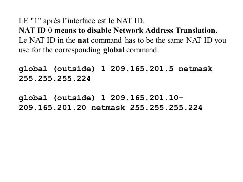 LE 1 après l'interface est le NAT ID.NAT ID 0 means to disable Network Address Translation.