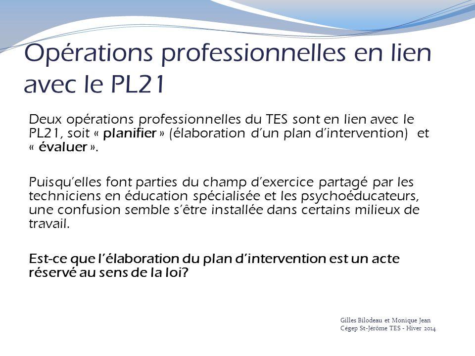 Opérations professionnelles en lien avec le PL21 Deux opérations professionnelles du TES sont en lien avec le PL21, soit « planifier » (élaboration d'un plan d'intervention) et « évaluer ».