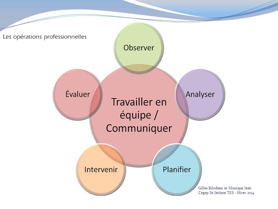 Les opérations professionnelles Gilles Bilodeau et Monique Jean Cégep St-Jérôme TES - Hiver 2014