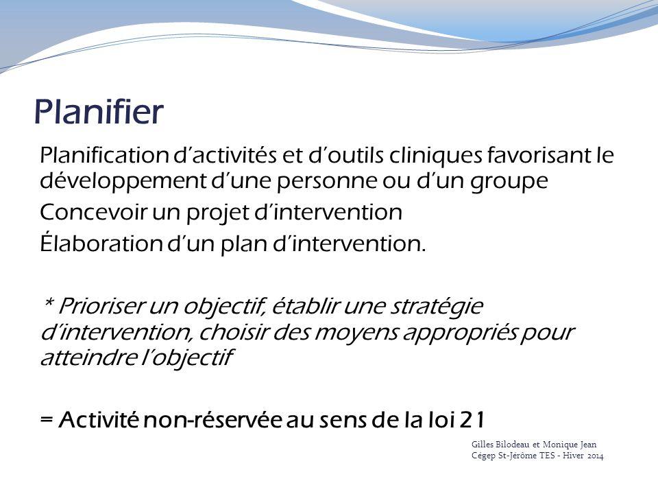 Planifier Planification d'activités et d'outils cliniques favorisant le développement d'une personne ou d'un groupe Concevoir un projet d'intervention Élaboration d'un plan d'intervention.