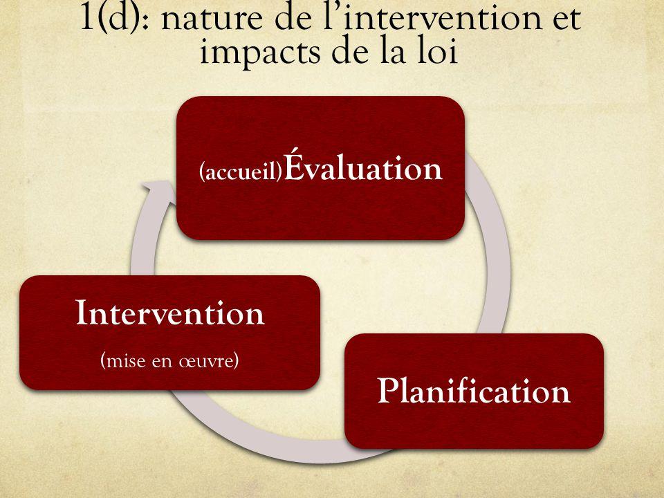 1(d): nature de l'intervention et impacts de la loi (accueil) Évaluation Planification Intervention ( mise en œuvre )
