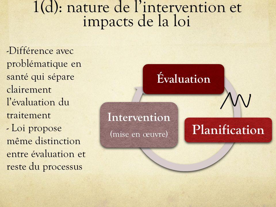 1(d): nature de l'intervention et impacts de la loi Évaluation Planification Intervention ( mise en œuvre ) -Différence avec problématique en santé qui sépare clairement l'évaluation du traitement - Loi propose même distinction entre évaluation et reste du processus
