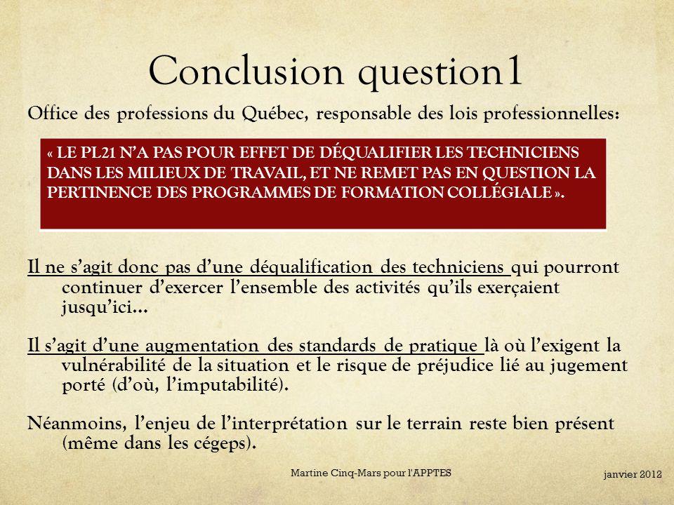 Conclusion question1 Office des professions du Québec, responsable des lois professionnelles: Il ne s'agit donc pas d'une déqualification des techniciens qui pourront continuer d'exercer l'ensemble des activités qu'ils exerçaient jusqu'ici… Il s'agit d'une augmentation des standards de pratique là où l'exigent la vulnérabilité de la situation et le risque de préjudice lié au jugement porté (d'où, l'imputabilité).
