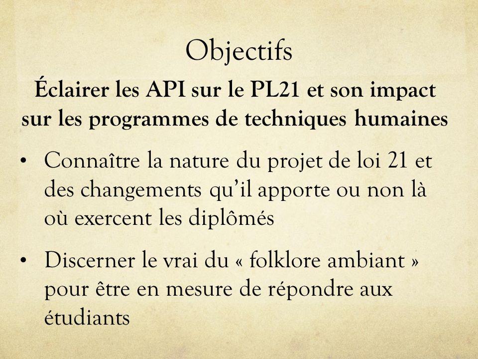 Objectifs Éclairer les API sur le PL21 et son impact sur les programmes de techniques humaines Connaître la nature du projet de loi 21 et des changements qu'il apporte ou non là où exercent les diplômés Discerner le vrai du « folklore ambiant » pour être en mesure de répondre aux étudiants