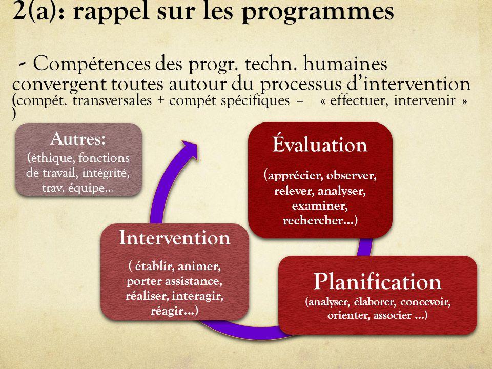2(a): rappel sur les programmes - Compétences des progr.