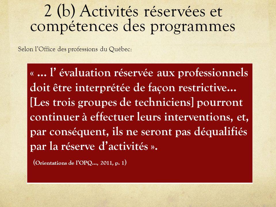2 (b) Activités réservées et compétences des programmes « … l' évaluation réservée aux professionnels doit être interprétée de façon restrictive… [Les trois groupes de techniciens] pourront continuer à effectuer leurs interventions, et, par conséquent, ils ne seront pas déqualifiés par la réserve d'activités ».