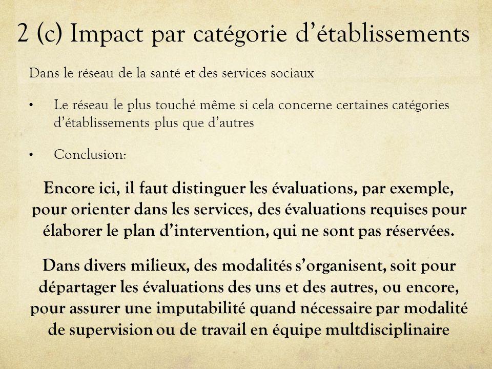 2 (c) Impact par catégorie d'établissements Dans le réseau de la santé et des services sociaux Le réseau le plus touché même si cela concerne certaines catégories d'établissements plus que d'autres Conclusion: Encore ici, il faut distinguer les évaluations, par exemple, pour orienter dans les services, des évaluations requises pour élaborer le plan d'intervention, qui ne sont pas réservées.