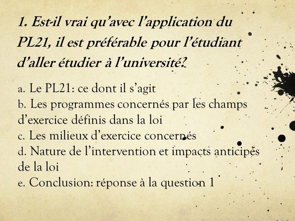 1. Est-il vrai qu'avec l'application du PL21, il est préférable pour l'étudiant d'aller étudier à l'université? a. Le PL21: ce dont il s'agit b. Les p