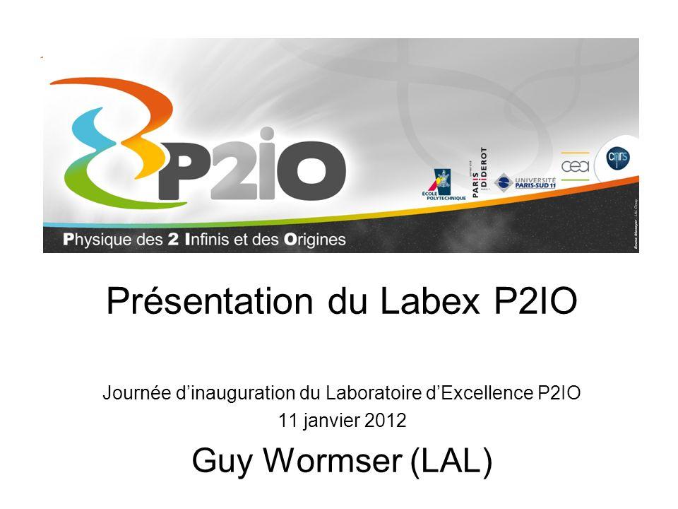 Présentation du Labex P2IO Journée d'inauguration du Laboratoire d'Excellence P2IO 11 janvier 2012 Guy Wormser (LAL)