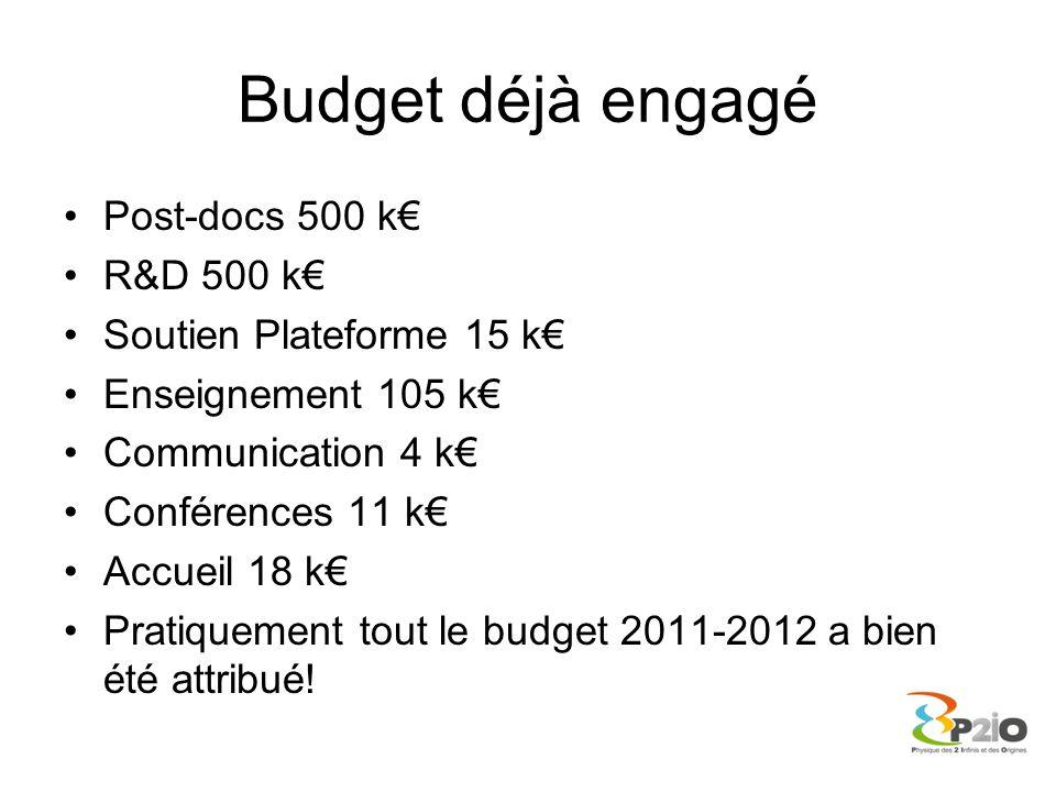 Budget déjà engagé Post-docs 500 k€ R&D 500 k€ Soutien Plateforme 15 k€ Enseignement 105 k€ Communication 4 k€ Conférences 11 k€ Accueil 18 k€ Pratiqu