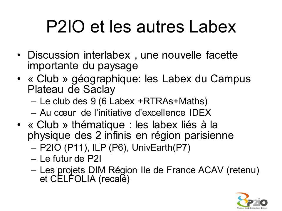 P2IO et les autres Labex Discussion interlabex, une nouvelle facette importante du paysage « Club » géographique: les Labex du Campus Plateau de Sacla