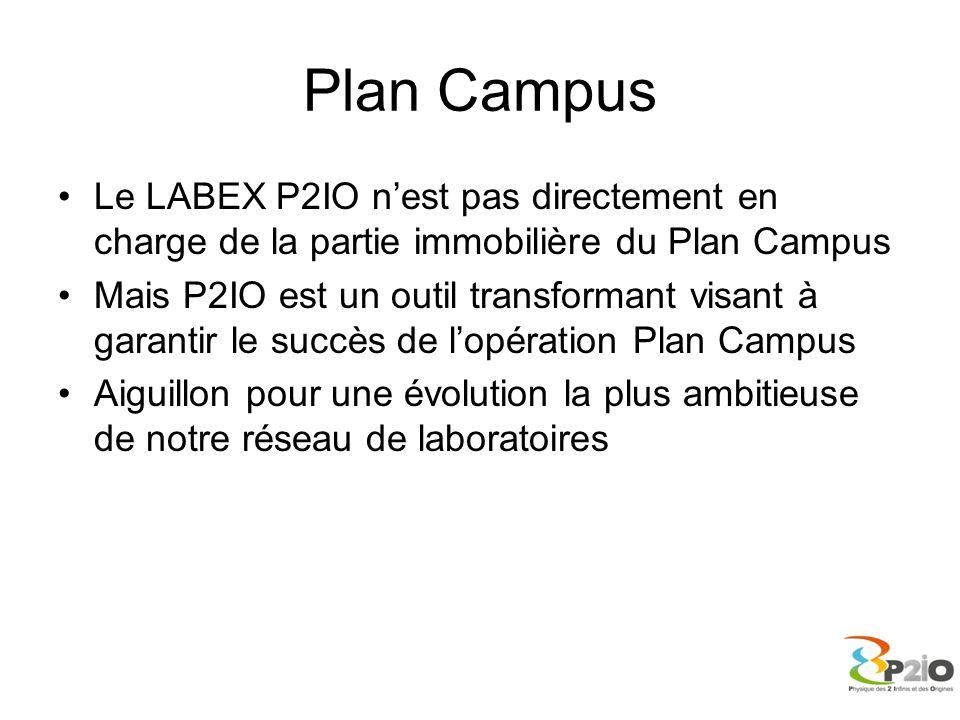 Plan Campus Le LABEX P2IO n'est pas directement en charge de la partie immobilière du Plan Campus Mais P2IO est un outil transformant visant à garanti