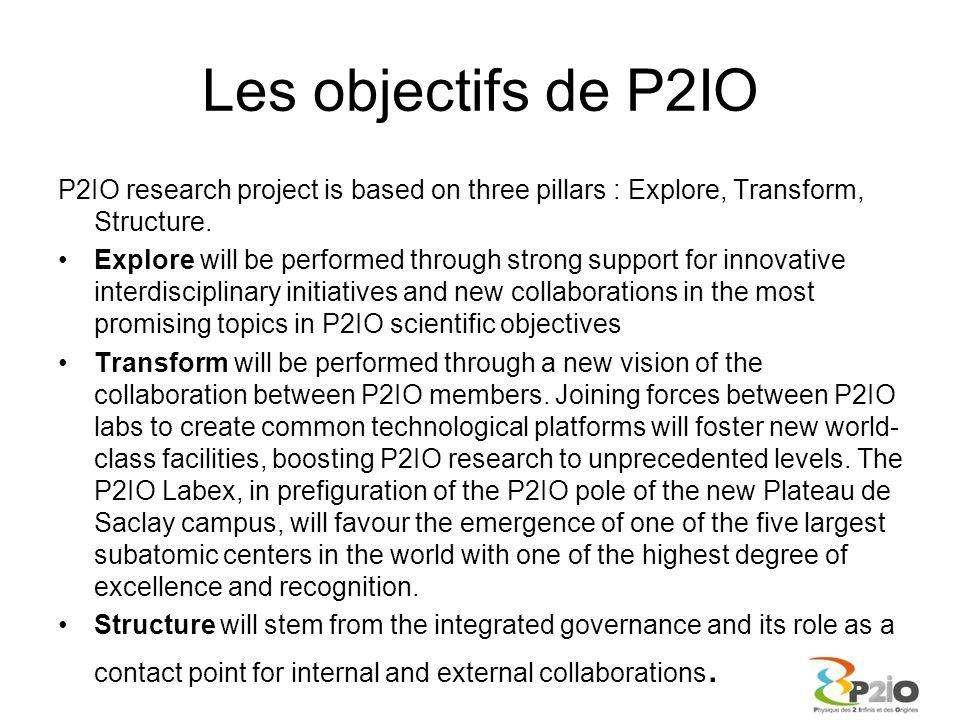 La valeur ajoutée de P2IO En interne –Dialogue très intense entre les directeurs d'unité au sein du comité de pilotage –Rapprochement très effectif entre la communauté à travers les projets soutenus mais aussi les comités, les groupes de travail, la communication –Connaissance nettement améliorée des différents laboratoires et de leur potentiel En externe local –Un acteur essentiel de l'IDEX –Nombreuses collaborations et projets à venir des échanges InterLabex –Rôle important des Labex au sein des futurs départements de l'Université Paris Saclay –Maintenir une cohésion régionale avec les collègues parisiens A l'international –Renforcer l'attractivité de notre réseau de laboratoires