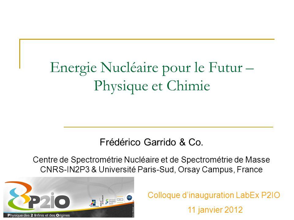 Energie Nucléaire pour le Futur – Physique et Chimie Frédérico Garrido & Co. Centre de Spectrométrie Nucléaire et de Spectrométrie de Masse CNRS-IN2P3