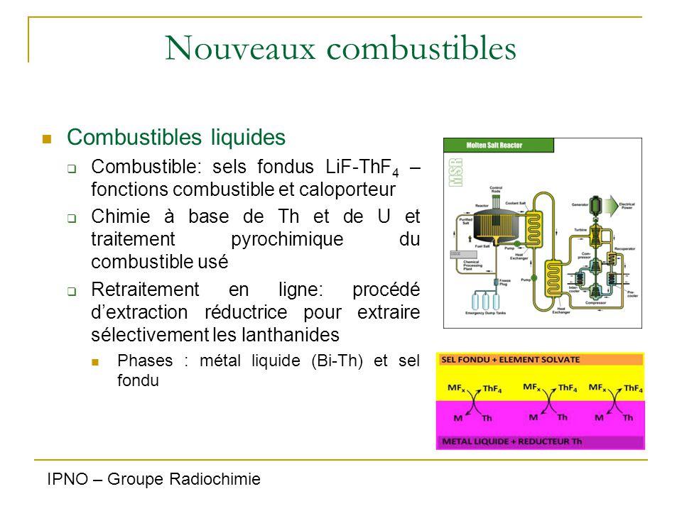 Nouveaux combustibles Combustibles liquides  Combustible: sels fondus LiF-ThF 4 – fonctions combustible et caloporteur  Chimie à base de Th et de U