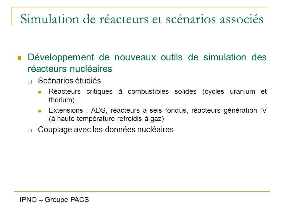 Simulation de réacteurs et scénarios associés Développement de nouveaux outils de simulation des réacteurs nucléaires  Scénarios étudiés Réacteurs cr