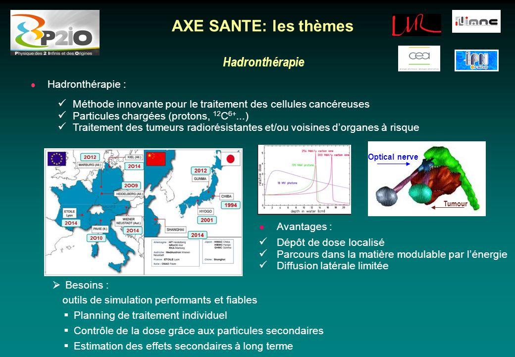 Hadronthérapie AXE SANTE: les thèmes Hadronthérapie : Méthode innovante pour le traitement des cellules cancéreuses Particules chargées (protons, 12 C