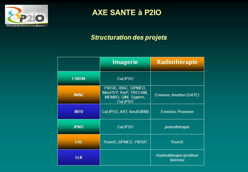 Structuration des projets ImagerieRadiothérapie CSNSM CaLIPSO IMNC PIXSIC, IBAC, SIPMED, MoniTEP, TrioP, TRECAM, MEMBO, QIM, Sigahrs, CaLIPSO Envision