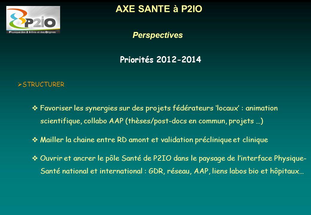 Perspectives AXE SANTE à P2IO Priorités 2012-2014 Parallel hole collimator  STRUCTURER  Favoriser les synergies sur des projets fédérateurs 'locaux'