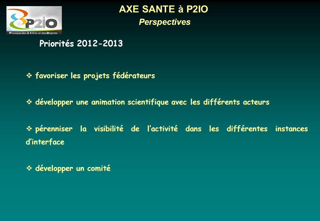 Perspectives AXE SANTE à P2IO  favoriser les projets fédérateurs  développer une animation scientifique avec les différents acteurs  pérenniser la