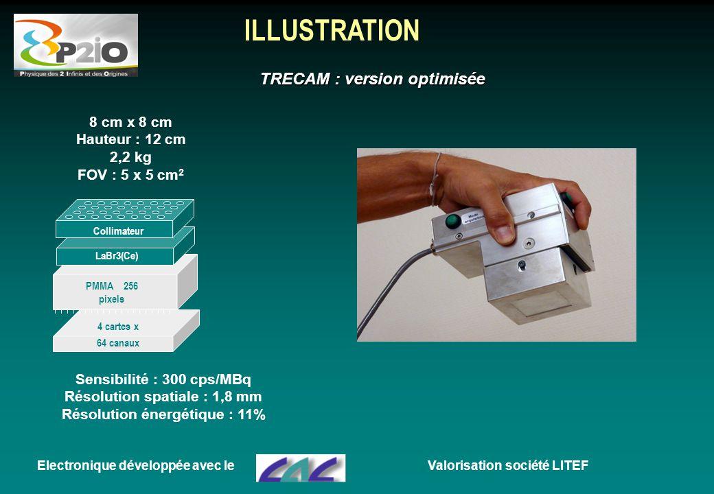 ILLUSTRATION 4 cartes x 64 canaux PMMA 256 pixels LaBr3(Ce) Collimateur Electronique développée avec le 8 cm x 8 cm Hauteur : 12 cm 2,2 kg FOV : 5 x 5