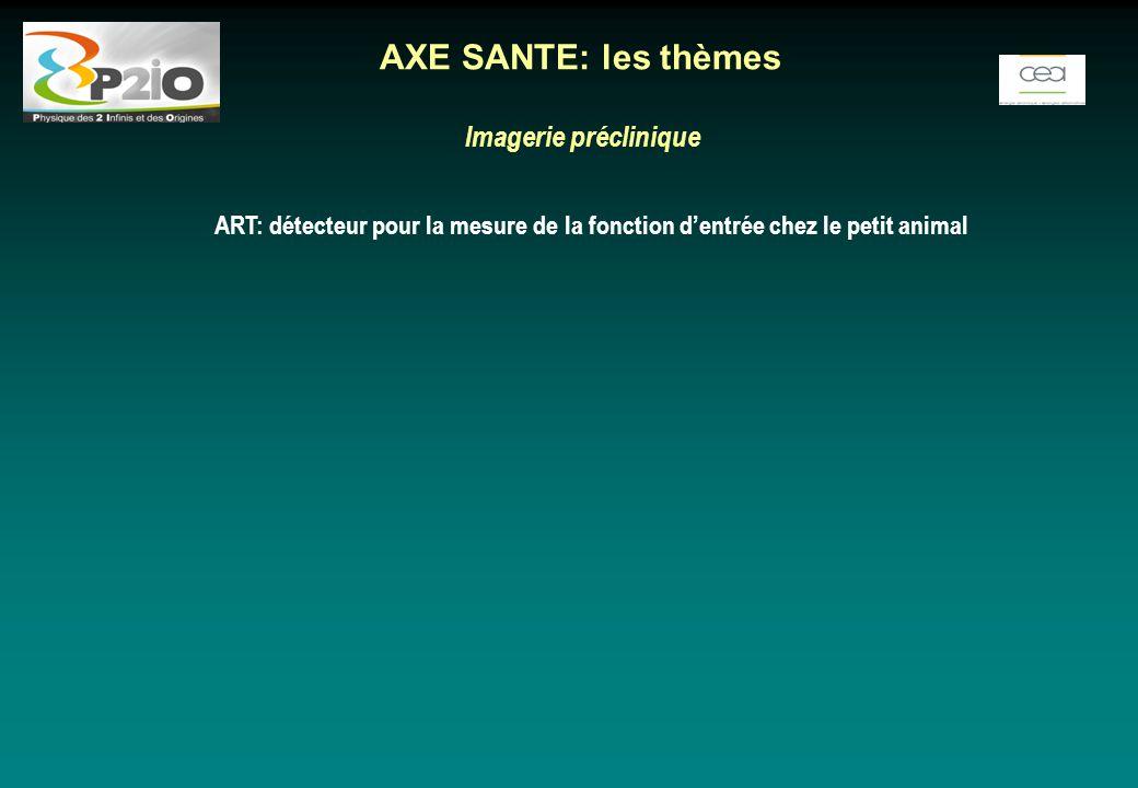 Imagerie préclinique ART: détecteur pour la mesure de la fonction d'entrée chez le petit animal AXE SANTE: les thèmes