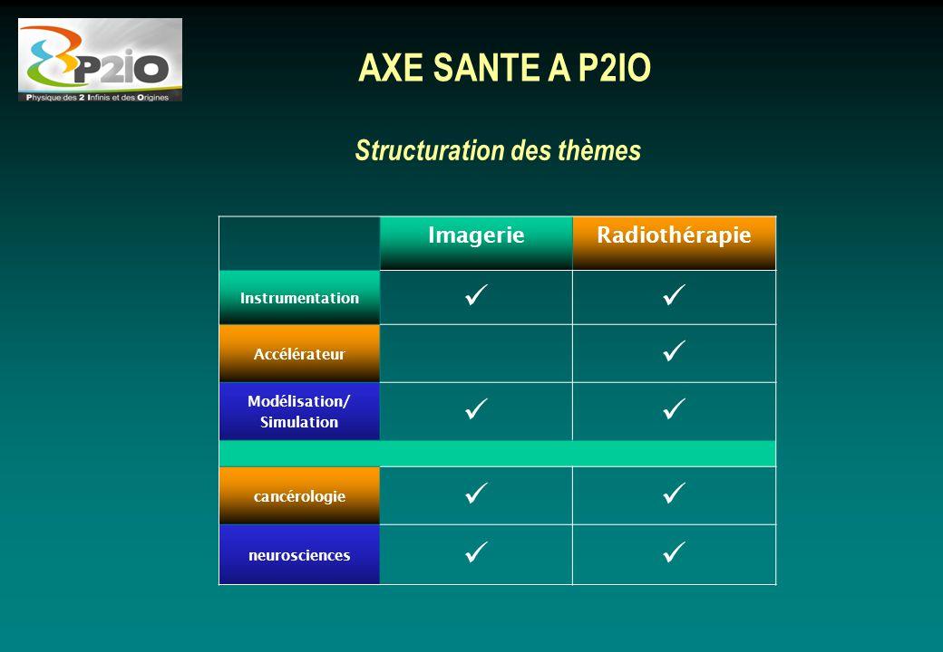 Structuration des thèmes AXE SANTE A P2IO ImagerieRadiothérapie Instrumentation Accélérateur Modélisation/ Simulation cancérologie neurosciences