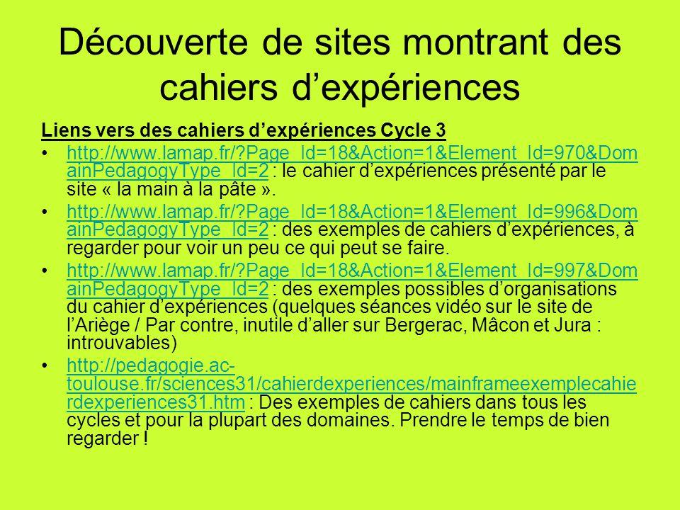 Découverte de sites montrant des cahiers d'expériences Liens vers des cahiers d'expériences Cycle 3 http://www.lamap.fr/?Page_Id=18&Action=1&Element_I