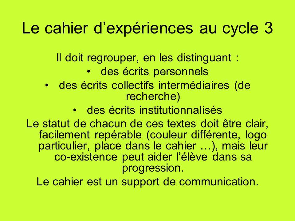 Le cahier d'expériences au cycle 3 Il doit regrouper, en les distinguant : des écrits personnels des écrits collectifs intermédiaires (de recherche) d