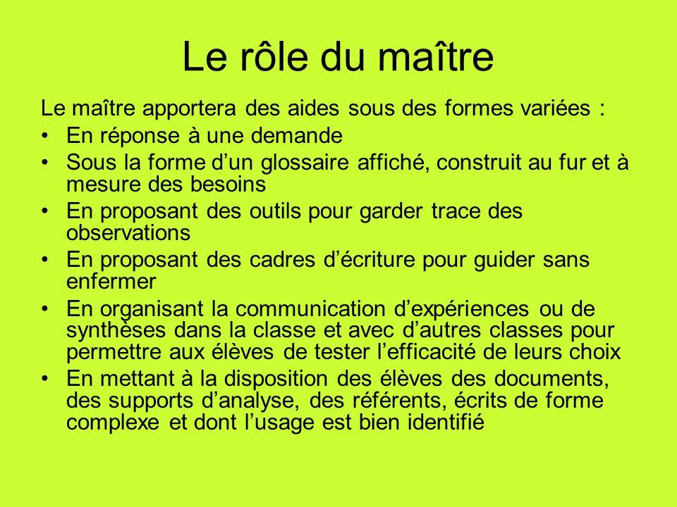Le rôle du maître Le maître apportera des aides sous des formes variées : En réponse à une demande Sous la forme d'un glossaire affiché, construit au