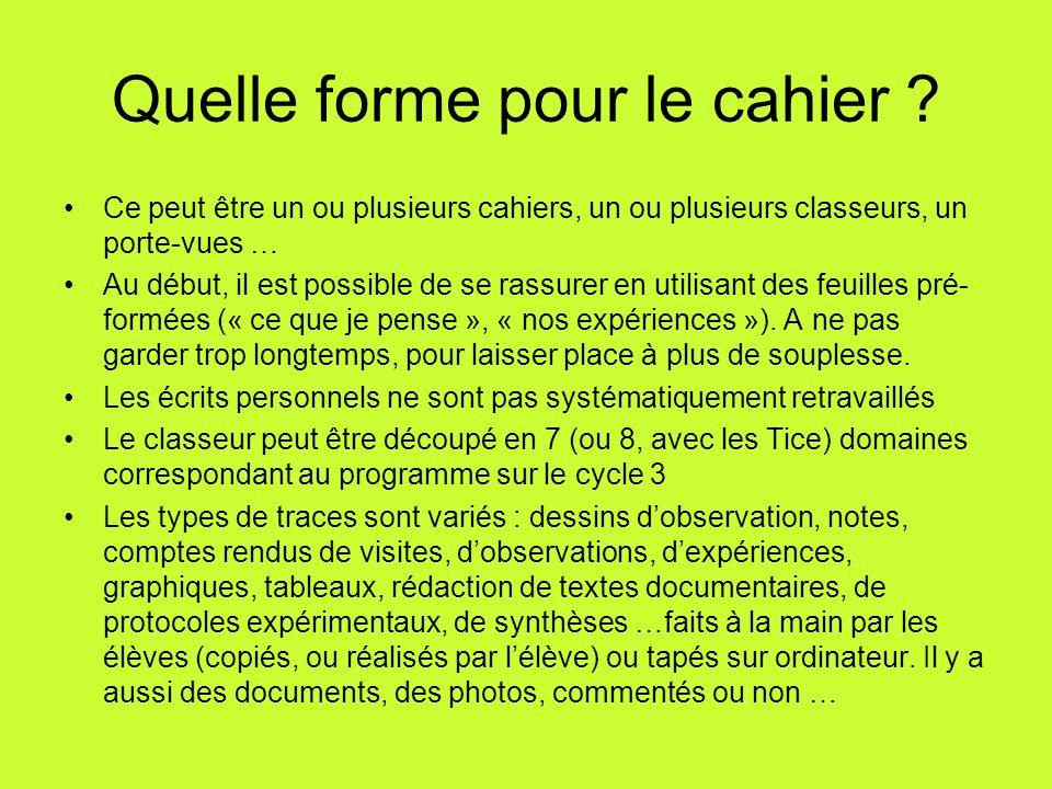 Le cahier d'expériences au cycle 3 La mise en place du cahier d'expériences doit être expliquée aux parents (voir sur le site « lamap » ou de l'inspection d'Amiens « sciences 80 », des modèles de lettres) http://www.lamap.fr/?Page_Id=18&Action=1&Element_Id=646&DomainPedagogyType_Id=2 Ou http://www.ac-amiens.fr/inspections/80/amiens5/sciences/