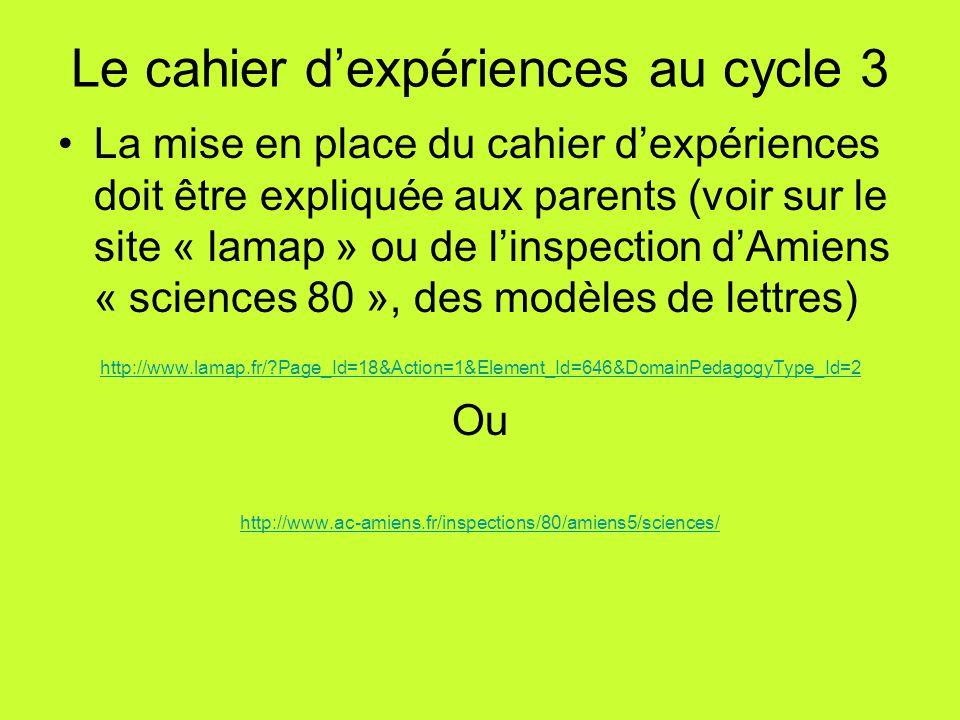 Le cahier d'expériences au cycle 3 La mise en place du cahier d'expériences doit être expliquée aux parents (voir sur le site « lamap » ou de l'inspec