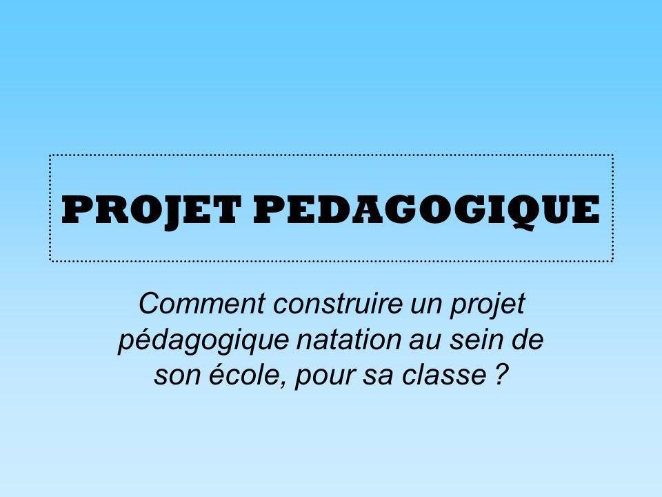 PROJET PEDAGOGIQUE Comment construire un projet pédagogique natation au sein de son école, pour sa classe ?