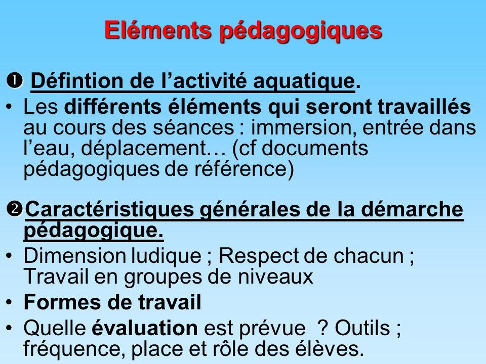 Eléments pédagogiques   Défintion de l'activité aquatique.